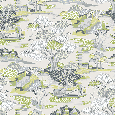 Joy De Vie Green Toile Wallpaper